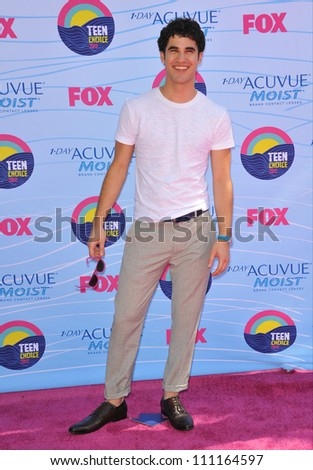 LOS ANGELES, CA - JULY 23, 2012: Darren Criss at the 2012 Teen Choice Awards at the Gibson Amphitheatre, Universal City.