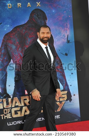 """LOS ANGELES, CA - JULY 21, 2014: Dave Bautista at the world premiere of his movie """"Guardians of the Galaxy"""" at the El Capitan Theatre, Hollywood.  - stock photo"""