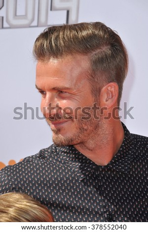 LOS ANGELES, CA - JULY 17, 2014: David Beckham at the first annual Nickelodeon Kids Choice Sports Awards at Pauley Pavilion, UCLA.