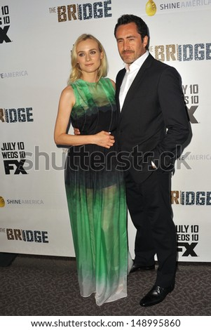 "LOS ANGELES, CA - JULY 8, 2013: Diane Kruger & Demian Bichir at the premiere for their new FX TV series ""The Bridge"" at the Directors Guild Theatre, West Hollywood."