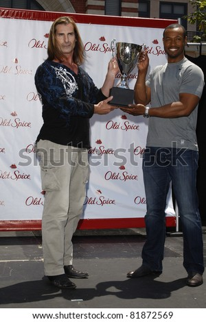LOS ANGELES, CA - JULY 28: Fabio; Isaiah Mustafa at the 'Old Spice Challenge' at The Grove on July 28, 2011 in Los Angeles, California