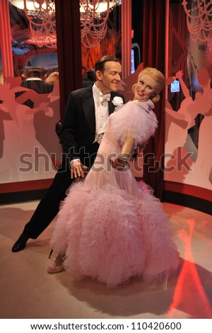 LOS ANGELES, CA - JULY 21, 2009: Fred Astaire & Ginger Rogers waxwork figure - grand opening of Madame Tussauds Hollywood. - stock photo
