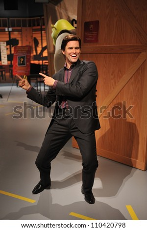LOS ANGELES, CA - JULY 21, 2009: Jim Carrey waxwork figure - grand opening of Madame Tussauds Hollywood. - stock photo