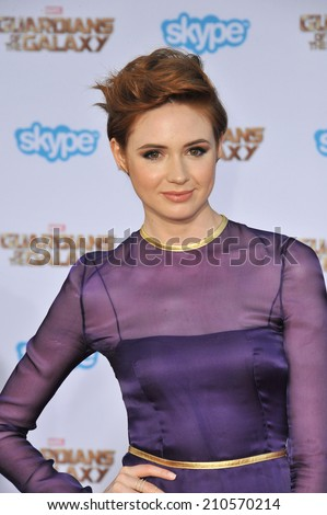 """LOS ANGELES, CA - JULY 21, 2014: Karen Gillan at the world premiere of her movie """"Guardians of the Galaxy"""" at the El Capitan Theatre, Hollywood.  - stock photo"""