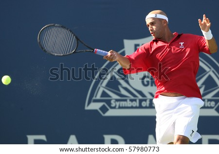 LOS ANGELES, CA. - JULY 27: Leonardo Mayer of Argentina and [WC] James Blake of USA (pictured) play a match at the 2010 Farmers Classic on July 27 2010 in Los Angeles.