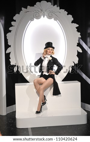 LOS ANGELES, CA - JULY 21, 2009: Marlene Dietrich waxwork figure - grand opening of Madame Tussauds Hollywood. - stock photo