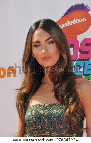 LOS ANGELES, CA - JULY 17, 2014: Megan Fox at the first annual Nickelodeon Kids Choice Sports Awards at Pauley Pavilion, UCLA. - stock photo