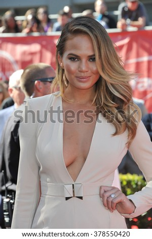 LOS ANGELES, CA - JULY 16, 2014: Model Christine Teigen at the 2014 ESPY Awards at the Nokia Theatre LA Live. - stock photo