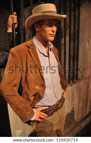 LOS ANGELES, CA - JULY 21, 2009: Paul Newman waxwork figure - grand opening of Madame Tussauds Hollywood. - stock photo