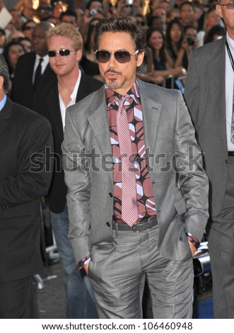 "LOS ANGELES, CA - JULY 19, 2011: Robert Downey Jr. at the premiere of ""Captain America: The First Avenger"" at the El Capitan Theatre, Hollywood. July 19, 2011  Los Angeles, CA"