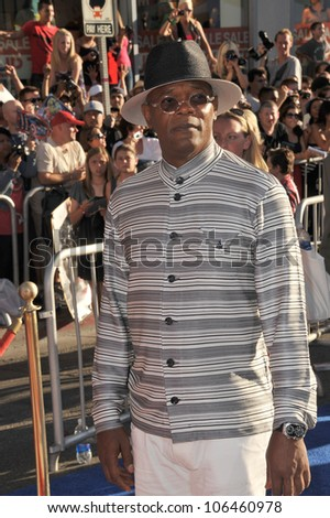 """LOS ANGELES, CA - JULY 19, 2011: Samuel L. Jackson at the premiere of his new movie """"Captain America: The First Avenger"""" at the El Capitan Theatre, Hollywood. July 19, 2011  Los Angeles, CA - stock photo"""
