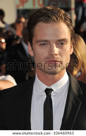 "LOS ANGELES, CA - JULY 19, 2011: Sebastian Stan at the premiere of his new movie ""Captain America: The First Avenger"" at the El Capitan Theatre, Hollywood. July 19, 2011  Los Angeles, CA"
