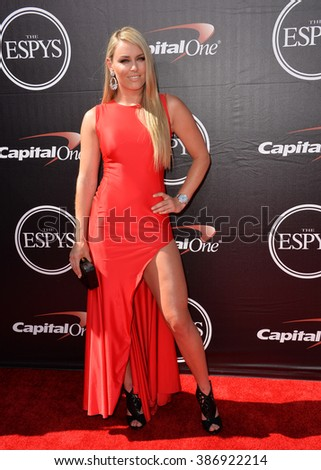 LOS ANGELES, CA - JULY 15, 2015: Skier Lindsey Vonn at the 2015 ESPY Awards at the Microsoft Theatre LA Live. - stock photo