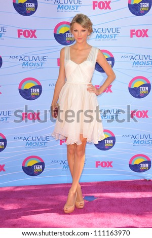 LOS ANGELES, CA - JULY 23, 2012: Taylor Swift at the 2012 Teen Choice Awards at the Gibson Amphitheatre, Universal City. - stock photo