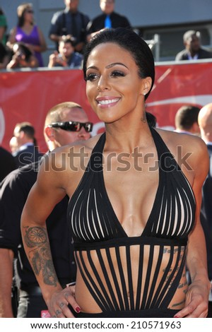LOS ANGELES, CA - JULY 16, 2014: U.S. women's soccer star Sydney Leroux at the 2014 ESPY Awards at the Nokia Theatre LA Live.