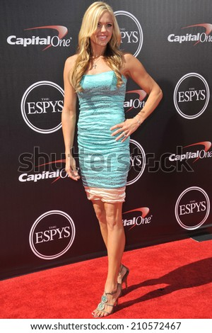 LOS ANGELES, CA - JULY 16, 2014: US softball player Jennie Finch at the 2014 ESPY Awards at the Nokia Theatre LA Live.