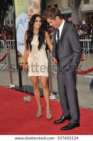 "LOS ANGELES, CA - JULY 20, 2010: Zac Efron & girlfriend Vanessa Hudgens at the world premiere of his new movie ""Charlie St. Cloud"" at the Mann Village Theatre, Westwood."