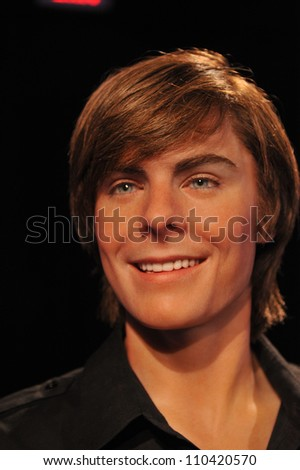 LOS ANGELES, CA - JULY 21, 2009: Zac Efron waxwork figure - grand opening of Madame Tussauds Hollywood. - stock photo