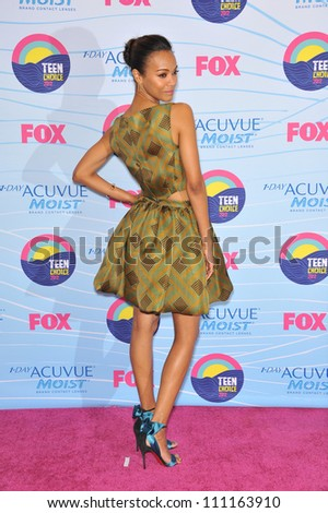 LOS ANGELES, CA - JULY 23, 2012: Zoe Saldana at the 2012 Teen Choice Awards at the Gibson Amphitheatre, Universal City.