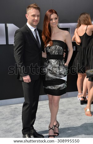 "LOS ANGELES, CA - JUNE 28, 2015: Actor Chris Hardwick & actress/model Lydia Hearst at the Los Angeles premiere of ""Terminator Genisys"" at the Dolby Theatre, Hollywood.  - stock photo"