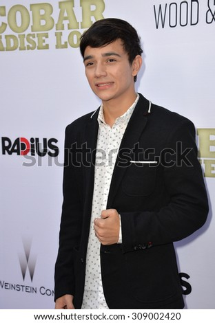"""LOS ANGELES, CA - JUNE 22, 2015: Actor Micke Moreno at the Los Angeles premiere of his movie """"Escobar: Paradise Lost"""" at the Arclight Theatre, Hollywood.   - stock photo"""