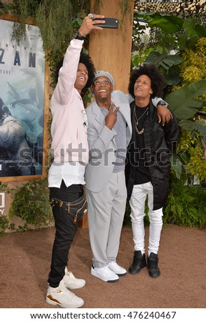 "LOS ANGELES, CA. June 27, 2016: Actor Samuel L. Jackson with dancers/models Les Twins - Laurent Bourgeois & Larry Bourgeois - at the premiere of ""The Legend of Tarzan"" at the Dolby Theatre, Hollywood."