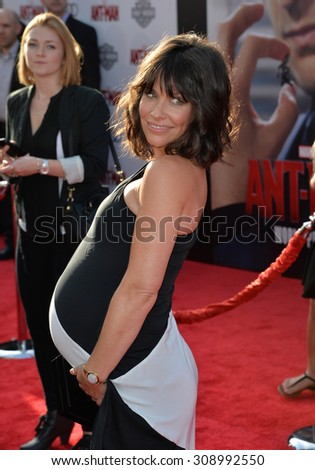 "LOS ANGELES, CA - JUNE 29, 2015: Actress Evangeline Lilly at the world premiere of her movie ""Ant-Man"" at the Dolby Theatre, Hollywood.  - stock photo"