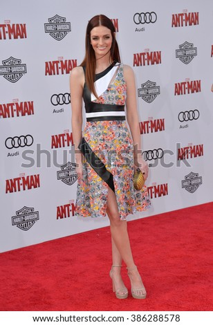"LOS ANGELES, CA - JUNE 29, 2015: Actress Lydia Hearst at the world premiere of ""Ant-Man"" at the Dolby Theatre, Hollywood."