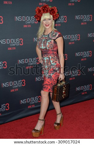 LOS ANGELES, CA - JUNE 5, 2015: Actress Renee Olstead at the world premiere of Insidious Chapter 3 at the TCL Chinese Theatre, Hollywood.  - stock photo