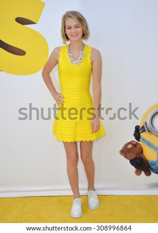 "LOS ANGELES, CA - JUNE 27, 2015: Actress Ryan Simpkins at the Los Angeles premiere of ""Minions"" at the Shrine Auditorium."