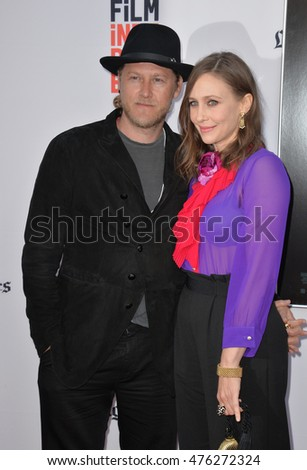 "LOS ANGELES, CA. June 7, 2016: Actress Vera Farmiga & husband Renn Hawkey at the world premiere of ""The Conjuring 2"" at the TCL Chinese Theatre, Hollywood."