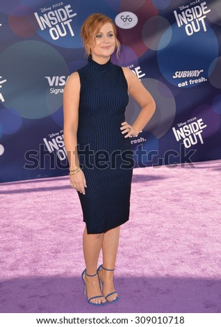 """LOS ANGELES, CA - JUNE 9, 2015: Amy Poehler at the Los Angeles premiere of her movie Disney-Pixar's """"Inside Out"""" at the El Capitan Theatre, Hollywood.  - stock photo"""