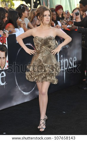 "LOS ANGELES, CA - JUNE 24, 2010: Anna Kendrick at the premiere of ""The Twilight Saga: Eclipse"" at the Nokia Theatre at L.A. Live."
