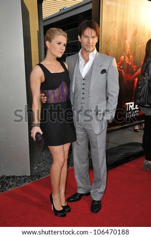 "LOS ANGELES, CA - JUNE 21, 2011: Anna Paquin & Stephen Moyer at the Los Angeles premiere of the fourth season of HBO's ""True Blood"" at the Cinerama Dome, Hollywood. June 21, 2011  Los Angeles, CA"