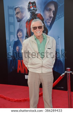 "LOS ANGELES, CA - JUNE 29, 2015: Ant-Man creator & executive producer Stan Lee at the world premiere of his movie ""Ant-Man"" at the Dolby Theatre, Hollywood."