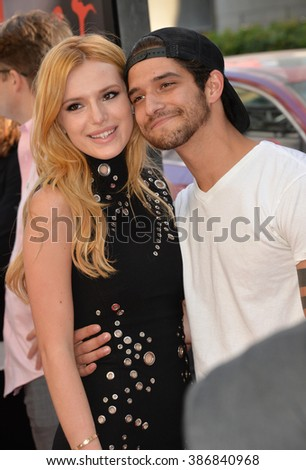 "LOS ANGELES, CA - JUNE 14, 2015: Bella Thorne & Tyler Posey at the LA Film Festival premiere of MTV's ""Scream"" at the Regal Cinema LA Live. - stock photo"