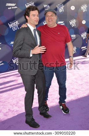 """LOS ANGELES, CA - JUNE 9, 2015: Bill Hader & Jeff Garlin (right) at the Los Angeles premiere of Disney-Pixar's """"Inside Out"""" at the El Capitan Theatre, Hollywood.  - stock photo"""