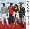 "LOS ANGELES, CA - JUNE 27, 2010: Black Eyed Peas - Will.I.Am, Stacy ""Fergie"" Ferguson, Taboo & Apl.de.Ap, at the 2010 BET Awards at the Shrine Auditorium - stock photo"