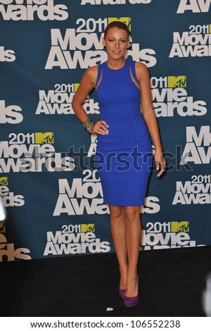 LOS ANGELES, CA - JUNE 5, 2011: Blake Lively at the 2011 MTV Movie Awards at the Gibson Amphitheatre, Universal Studios, Hollywood. June 5, 2011  Los Angeles, CA - stock photo