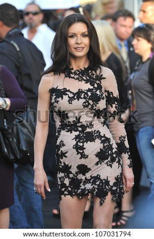"""LOS ANGELES, CA - JUNE 9, 2012: Catherine Zeta-Jones at the world premiere of her new movie """"Rock of Ages"""" at Grauman's Chinese Theatre, Hollywood. June 9, 2012  Los Angeles, CA - stock photo"""