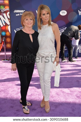 """LOS ANGELES, CA - JUNE 9, 2015: Cheryl Hines & mother at the Los Angeles premiere of Disney-Pixar's """"Inside Out"""" at the El Capitan Theatre, Hollywood.  - stock photo"""