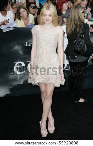 LOS ANGELES, CA. - JUNE 24: Dakota Fanning attends The Twilight Saga Eclipse  Los Angeles premiere on June 24th, 2010 at The Nokia Theater in Los Angeles, Ca. - stock photo