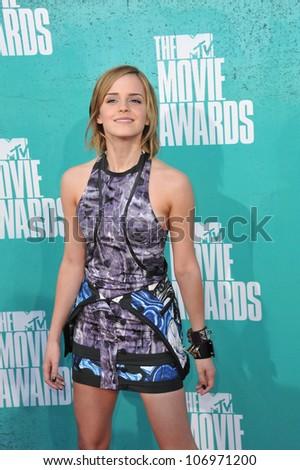 LOS ANGELES, CA - JUNE 4, 2012: Emma Watson at the 2012 MTV Movie Awards at Universal Studios, Hollywood. June 4, 2012  Los Angeles, CA - stock photo