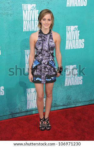 LOS ANGELES, CA - JUNE 4, 2012: Emma Watson at the 2012 MTV Movie Awards at Universal Studios, Hollywood. June 4, 2012  Los Angeles, CA - stock photo