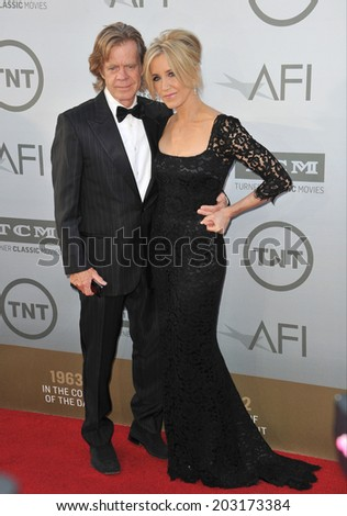 LOS ANGELES, CA - JUNE 5, 2014: Felicity Huffman & husband William H. Macy at the 2014 American Film Institute's Life Achievement Awards honoring Jane Fonda, at the Dolby Theatre, Hollywood.  - stock photo