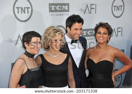 LOS ANGELES, CA - JUNE 5, 2014: Jane Fonda & daughter Vanessa Vadim (left), son Troy Garity & his wife Simone Bent at the 2014 AFI's Life Achievement Gala honoring Jane Fonda, at the Dolby Theatre.  - stock photo