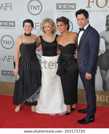 LOS ANGELES, CA - JUNE 5, 2014: Jane Fonda & daughter Vanessa Vadim (left), son Troy Garity & his wife Simone Bent at the 2014 AFI's Life Achievement Awards honoring Jane Fonda, at the Dolby Theatre.  - stock photo