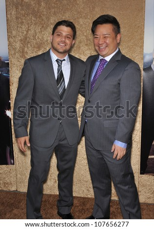 "LOS ANGELES, CA - JUNE 16, 2010: Jerry Ferrara (left) & Rex Lee at the season seven premiere of their TV series ""Entourage"" at Paramount Studios, Hollywood."