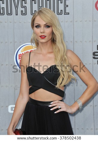 LOS ANGELES, CA - JUNE 7, 2014: Laura Vandervoort at Spike TV's 2014 Guys Choice Awards at Sony Studios, Culver City. - stock photo