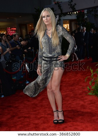 "LOS ANGELES, CA - JUNE 10, 2015: Lindsey Vonn at the world premiere of ""Jurassic World"" at the Dolby Theatre, Hollywood. - stock photo"